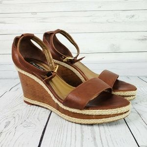Massimo Dutti Leather Stacked Wedge Sandals 40